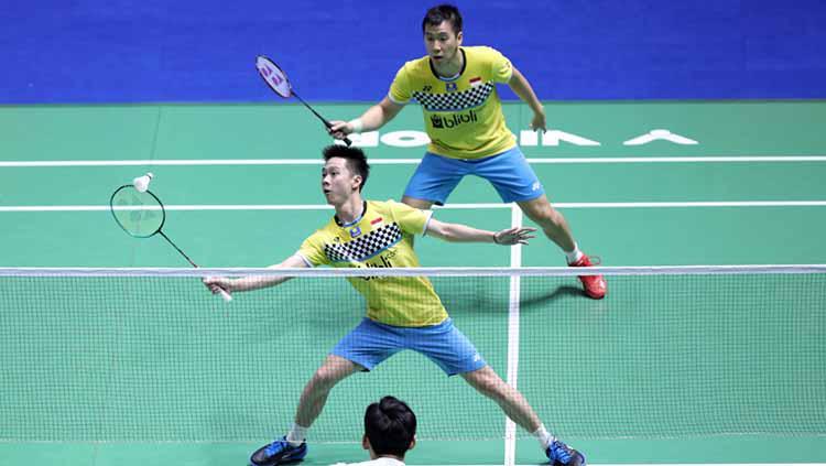 Kevin-Marcus kalahkan ganda Korea Selatan. Copyright: humas PBSI