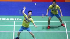 Indosport - Kevin-Marcus kalahkan ganda Korea Selatan.