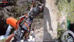Indosport - Pesepeda jatuh dari atas tebing dengan ketinggian 70 kaki.