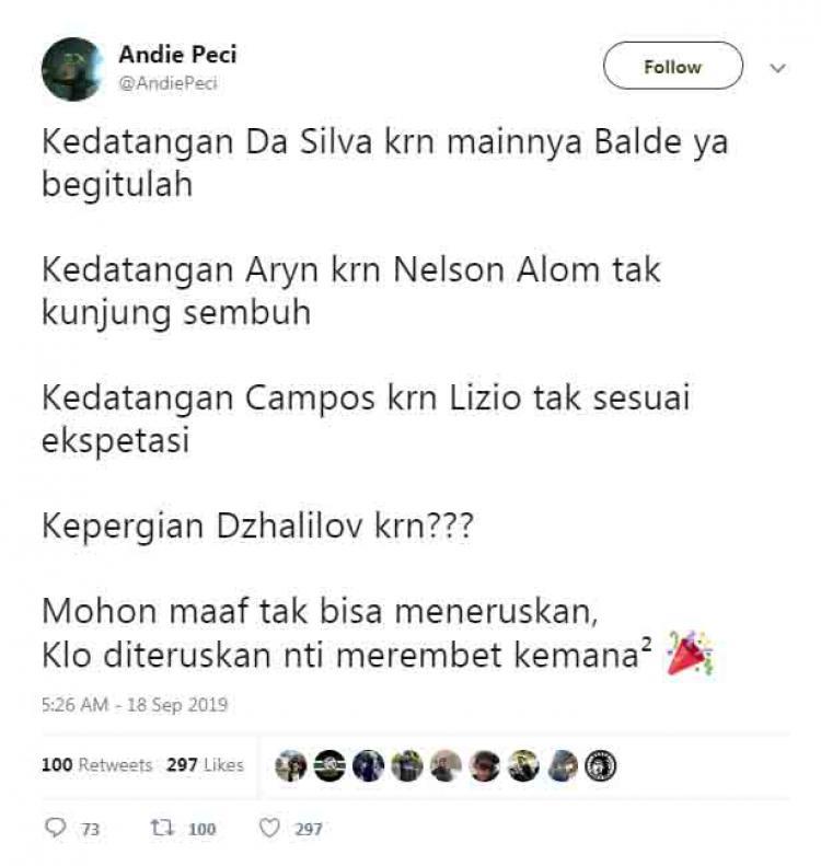 Pentolan Bonek, Andie Peci mengkritisi dicoretnya Jalilov dari Persebaya Surabaya. Copyright: Twitter.com/amdiepeci