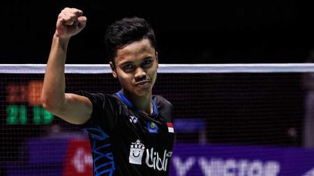 Selebrasi pebulutangkis tunggal putra Indonesia, Anthony Sinisuka Ginting. - INDOSPORT