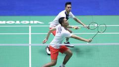 Indosport - Pasangan Fajar Alfian/M.Rian Ardianto sukses melaju ke babak kedua Korea Open 2019 usai mengalahkan wakil China, di Incheon Ariport Skydome, Rabu (25/9/19).
