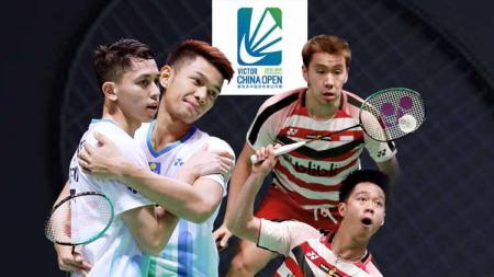 Fajar Alfian/Muhammad Rian Ardianto akan berhadapan dengan Kevin Sanjaya Sukamuljo/Marcus Fernaldi Gideon di semifinal China Open 2019 BWF World Tour Super 1000 - INDOSPORT