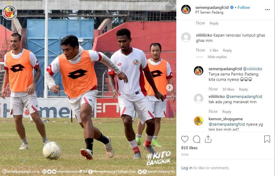 Jawaban Admin SemenPadang Saat Ditanya Renovasi Copyright: Instagram/SemenPadangFCID