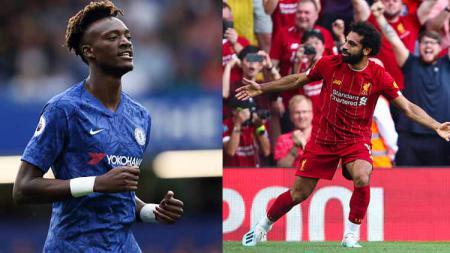 Striker Chelsea, Tammy Abraham (kiri) dan Mohamed Salah, penyerang Liverpool. - INDOSPORT