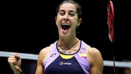 Carolina Marin merayakan kemenangan di semifinal China Open 2019. - INDOSPORT