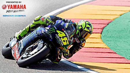 Pembalap Yamaha, Valentino Rossi akan memulai balapan MotoGP Aragon 2019 dari posisi keenam. - INDOSPORT