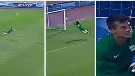 Mahmoud Gad, kiper tim ENPPI melakukan aksi heroik di laga Liga Primer Mesir - INDOSPORT