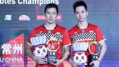 Indosport - Kevin Sanjaya Sukamuljo/Marcus Fernaldi Gideon juara di China Open 2019.