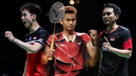 Kevin Sanjaya, Tontowi Ahmad, dan Mohammad Ahsan. - INDOSPORT