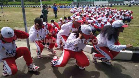 Para Atlet PON Papua yang tengah mengikuti program Character Building and Achievement Motivator Training di Rindam XVII Cenderawasih - INDOSPORT