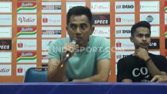 Indosport - Pelatih PSS, Seto Nurdiantoro jumpa pers usai laga