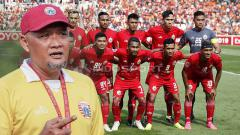 Indosport - Pelatih Persija Sudirman dan Skuat Persija Jakarta.