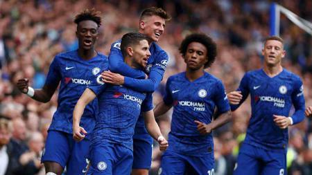Aksi selebrasi pemain Chelsea melawan Brighton. - INDOSPORT