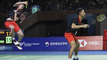 Pasangan ganda putra Indonesia, Fajar Alfian/M.Rian Ardianto berhasil mengalahkan pebulutangkis wakil Chinese Taipei sekaligus melaju ke babak dua Fuzhou China Open 2019. - INDOSPORT