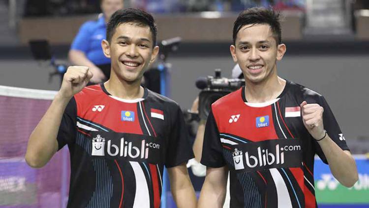 Pasangan ganda putra Indonesia, Fajar Alfian/M.Rian Ardianto berhasil mengalahkan pebulutangkis asal Jepang Takeshi Kamura/Keigo Sonoda di final Korea Open 2019. Copyright: Humas PBSI