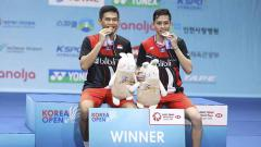 Indosport - Pasangan ganda putra Indonesia, Fajar Alfian/M.Rian Ardianto berhasil mengalahkan pebulutangkis asal Jepang Takeshi Kamura/Keigo Sonoda di final Korea Open 2019.