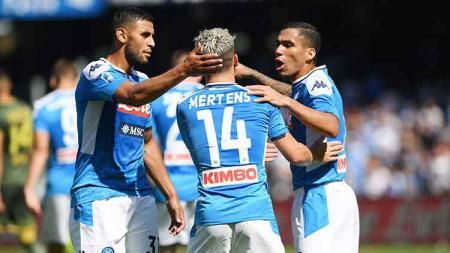 Aksi selebrasi pemain Napoli melawan Brescia Calcio. - INDOSPORT