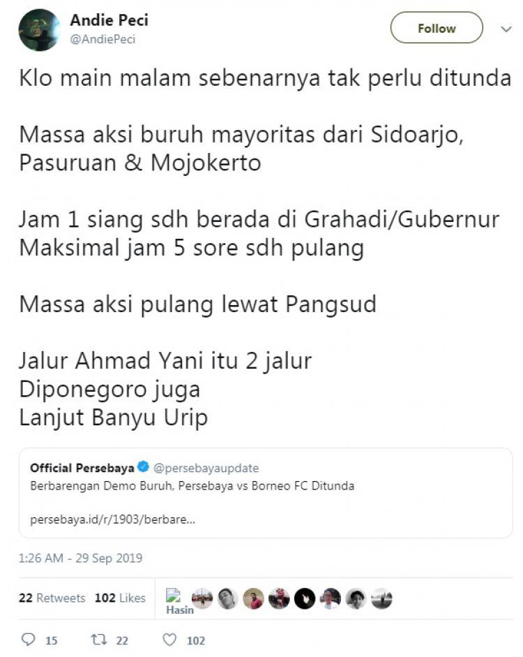 Kicauan Andie Peci soal laga Persebaya vs Borneo FC yang ditunda. Copyright: Twitter.com/andiepeci