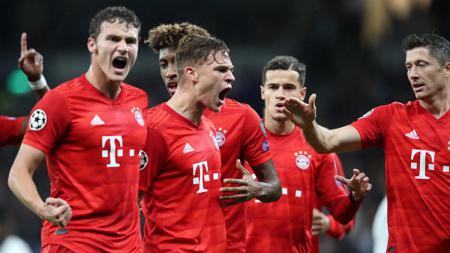 Selebrasi pemain Bayern Munchen di laga Liga Champions kontra Tottenham Hotspur, rabu (02/10/19). - INDOSPORT