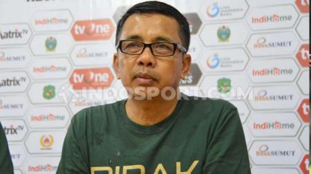 Pelatih PSMS Medan, Jafri Sastra berharap bisa meraih 3 poin saat menantang PSGC Ciamis, seperti saat menghadapi Sriwijaya FC. - INDOSPORT