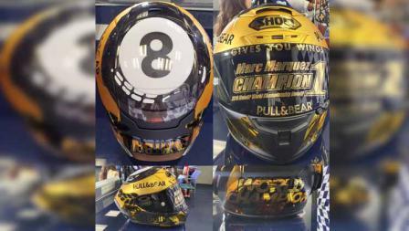 Helm juara dunia milik Marc Marquez juara dunia MotoGP ke-8.
