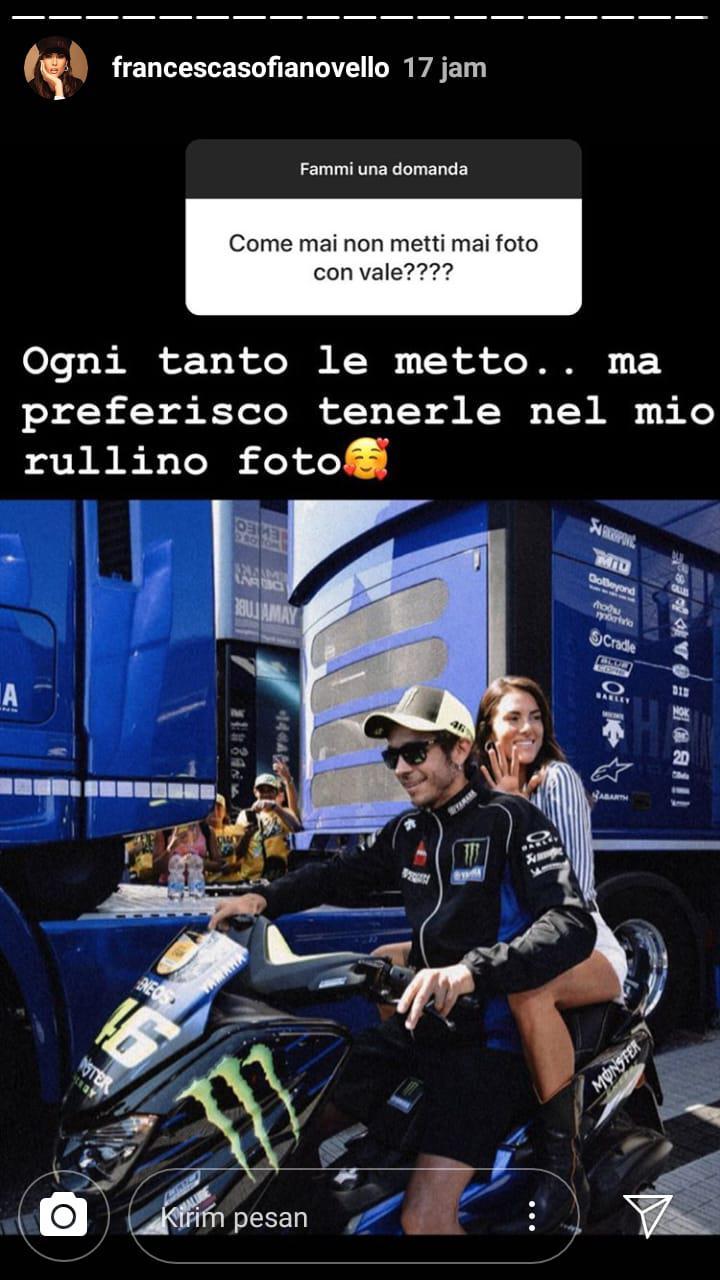 Jarang Tampil Mesra di Media Sosial, Kekasih Valentino Rossi Berikan Penjelasan Copyright: instagram.com/francescasofianovello
