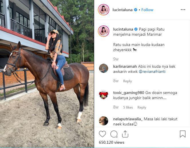 Jajal Olahraga Berkuda, Suara Lucinta Luna Bikin Salah Fokus Copyright: IG Lucinta Luna