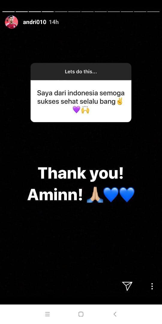 Dapat Pesan dari Fans di Indonesia, Ini Jawaban Andri Syahputra Copyright: instagramAndri Syahputra