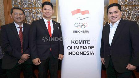 Ketua Umum KOI, Raja Sapta Oktohari (tengah). periode 2019-2023. Kemenpora memastikan Indonesia tetap mengikuti bidding untuk menjadi tuan rumah pada Olimpiade 2032. - INDOSPORT