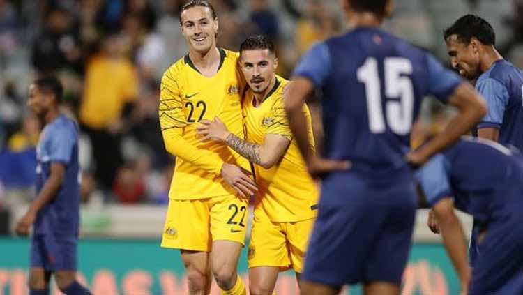 Pertanndingan Kualifikasi Piala Dunia 2022 Australia vs Nepal yang dipimpin wasit Indonesia, Kamis (10/10/19). Copyright: Twitter@Socceroos