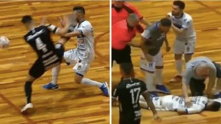 Pemain futsal Brasil terkena tendangan karate saat bertanding. - INDOSPORT