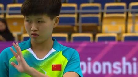 Situs Federasi Bulutangkis Dunia (BWF) menyebut sosok pebulutangkis China, Lin Fang Ling sukses membuat wakil Indonesia frustasi di final Kejuaraan Dunia Junior 2019. - INDOSPORT