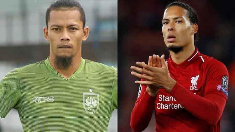 Jandia Eka Putra mirip Virgil van Dijk. Copyright: INDOSPORT