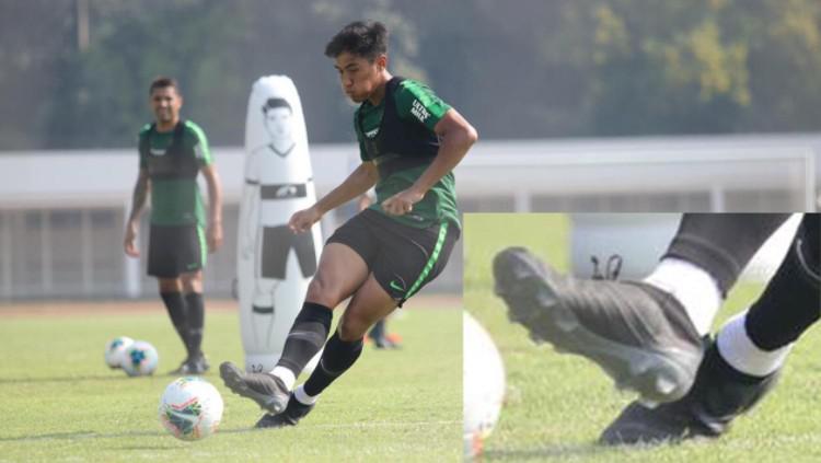 Hanif Sjahbandi gunakan sepatu misterius di sesi latihan bersama Timnas Indonesia. Copyright: Istimewa