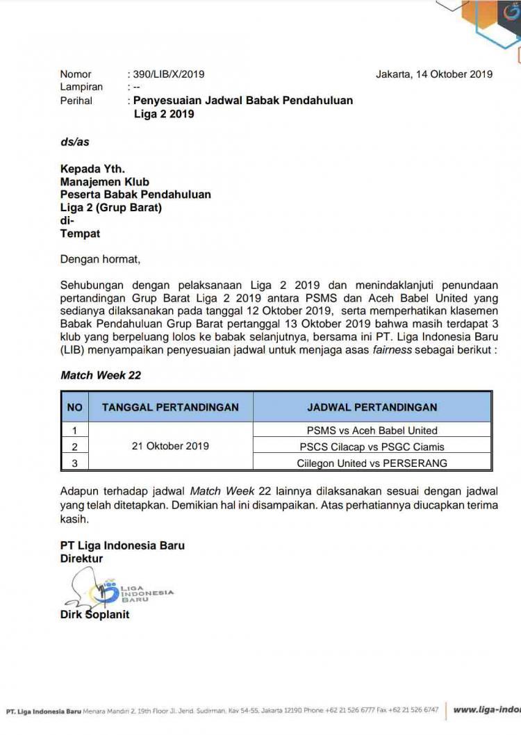 Surat jadwal ulang pekan terakhir wilayah barat dari PT. LIB. Copyright: LIB