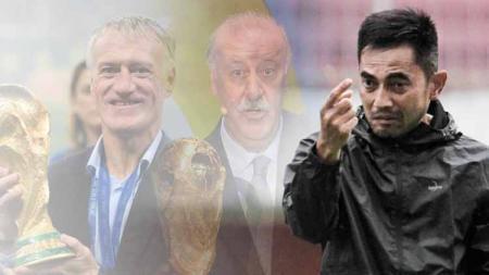 Vicente del Bosque, Didier Deschamps, dan Seto Nurdiyantoro. - INDOSPORT