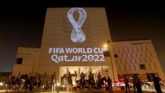 Indosport - Foto launching logo terbaru untuk turnamen sepak bola terbesar di dunia, Piala Dunia 2022 di Doha, Qatar.