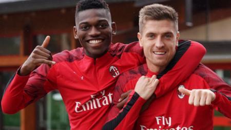 Rafael Leao dan Krzysztof Piatek, dua striker AC Milan bisa menjadi duet binatang buas ketika diturunkan di lapangan. - INDOSPORT