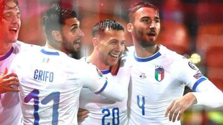 Federico Bernardeschi merayakan golnya dalam pertandingan Kualifikasi Euro 2020 antara Liechtenstein vs Italia, Rabu (16/10/19) dini hari WIB. - INDOSPORT