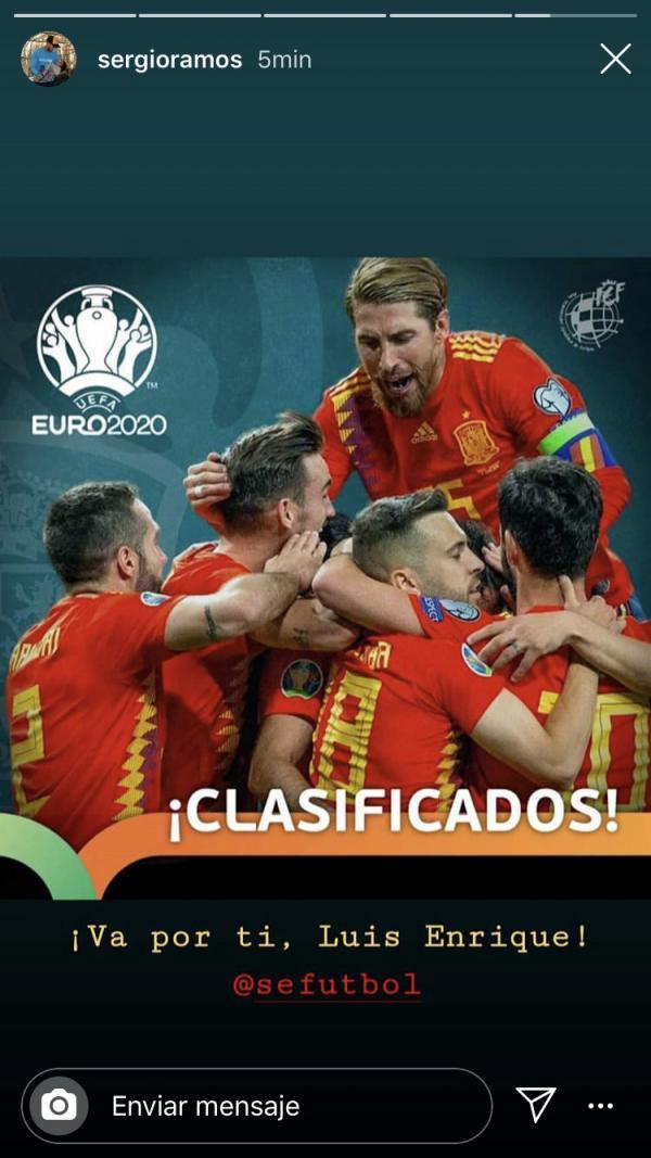 Ramos Dedikasikan Keberhasilan Spanyol di Kualifikasi Euro 2020 untuk Luis Enrique Copyright: Instagram Sergio Ramos
