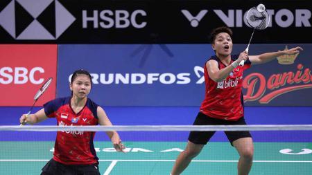 Greysia Polii/Apriyani Rahayu di babak pertama Denmark Open 2019. - INDOSPORT