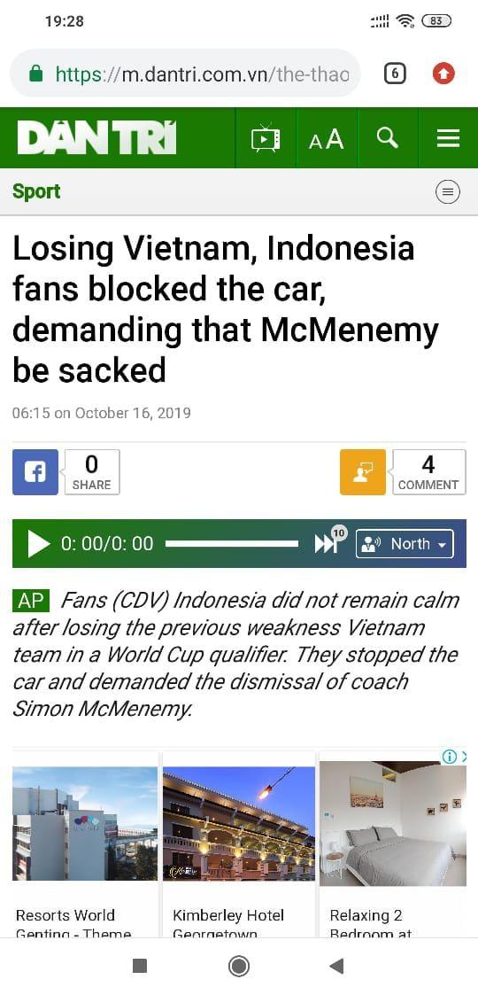 Media Vietnam Soroti Aksi Protes Fans Indonesia kepada Pelatih Timnas, Simon McMenemy. Copyright: Dantri Media