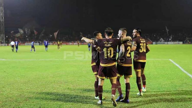 Selebrasi pemain PSM Makassar usai mencetak gol ke gawang Arema FC Copyright: Instagram@psmimages