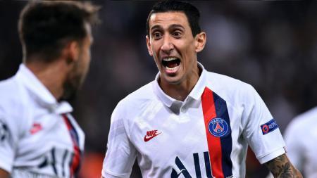 Angel Di Maria terlihat sumringah usai mencetak gol untuk PSG di Liga Prancis, Sabtu (19/10/19) dini hari WIB. - INDOSPORT