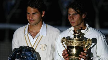 Roger Federer dan Rafael Nadal di Wimbledon 2008 - INDOSPORT