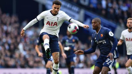 Dele Alli mencetak satu gol dan menyelamatkan Tottenham Hotspur dari kekalahan dalam laga kontra Watford, Sabtu (19/10/19). - INDOSPORT