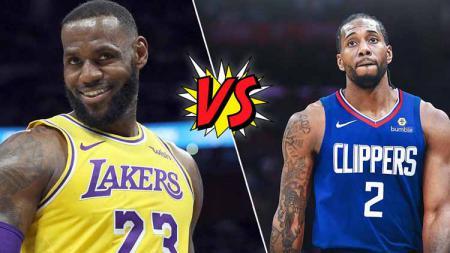 Megabintang LA Lakers, LeBron James (kiri) vs megabintang Kawhi Leonard, megabintang LA Clippers di NBA musim ini. - INDOSPORT