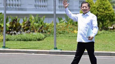 Ketum PB Ikatan Anggar Seluruh Indonesia (Ikasi) Agus Suparmanto, saat datang ke Istana Negara jelang pembentukan Kabinet Kerja II. - INDOSPORT