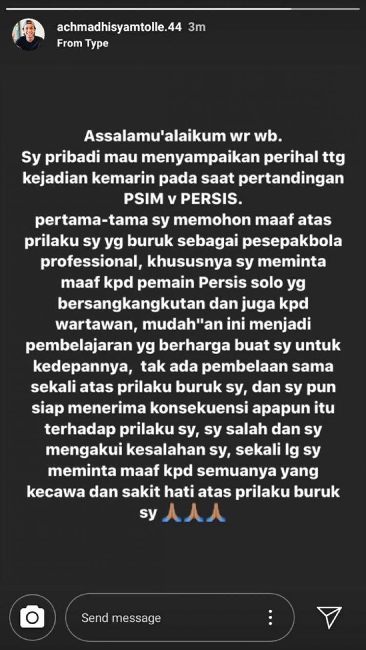 Achmad Hisyam Tolle memberikan pernyataan maaf atas tindakan tak terpujinya kepada pemain Persis Solo dan wartawan. Copyright: Instagram/@achmadhisyamtolle.44